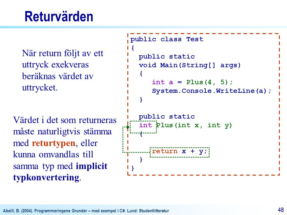 Returvärden public class Test. { public static. void Main(String[] args) int a = Plus(4, 5); System.Console.WriteLine(a);